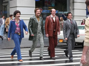 Paul Rudd, Will Ferrell, David Koechner, and Steve Carell in Anchorman 2