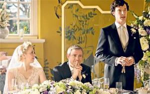 Amanda Abbington, Martin Freeman, and Benedict Cumberbatch in the latest episode of Sherlock